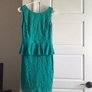 Bisou Bisou crochet peplum dress